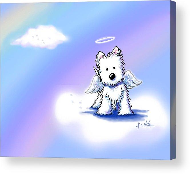Westie Terrier Acrylic Print featuring the drawing Westie Angel At Rainbow Bridge by Kim Niles