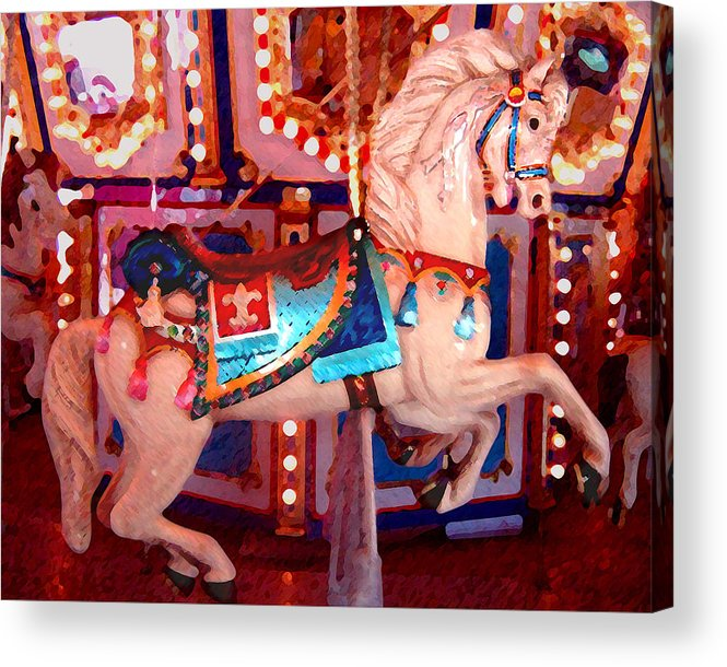 Horses Acrylic Print featuring the painting White Carousel Horse by Amy Vangsgard