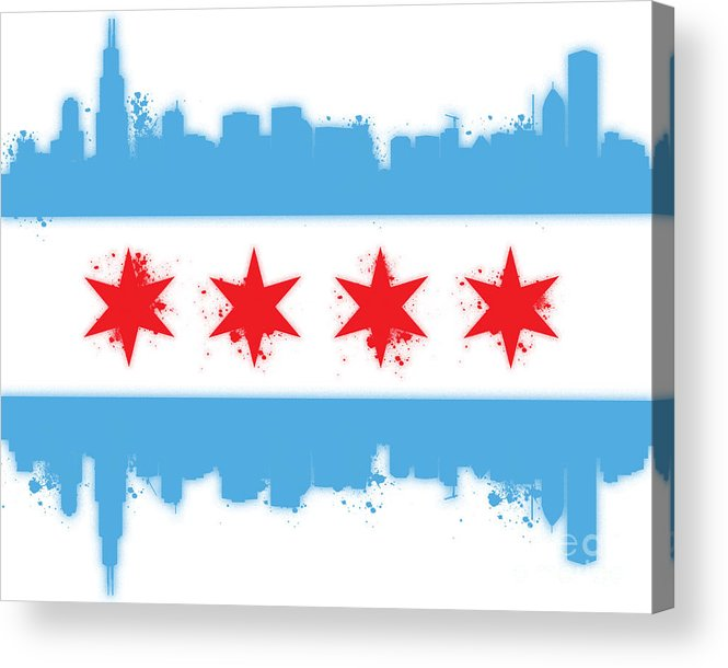 Chicago Acrylic Print featuring the digital art White Chicago Flag by Mike Maher