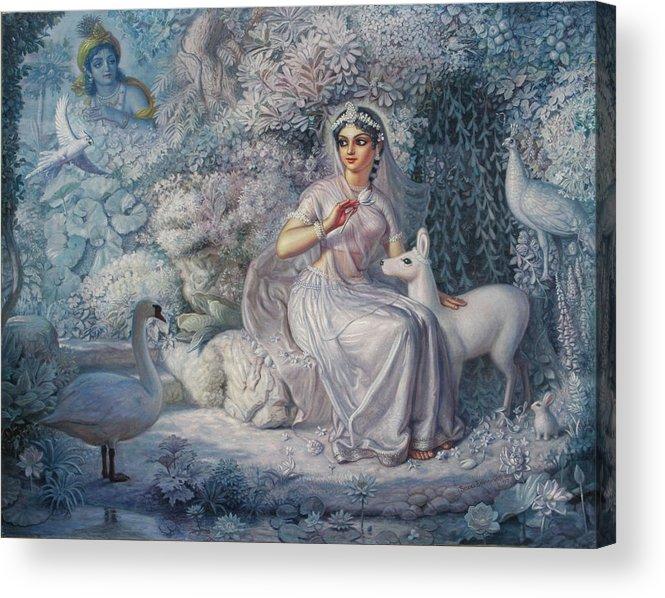 Girl Acrylic Print featuring the painting White Kunja by Satchitananda das Saccidananda das