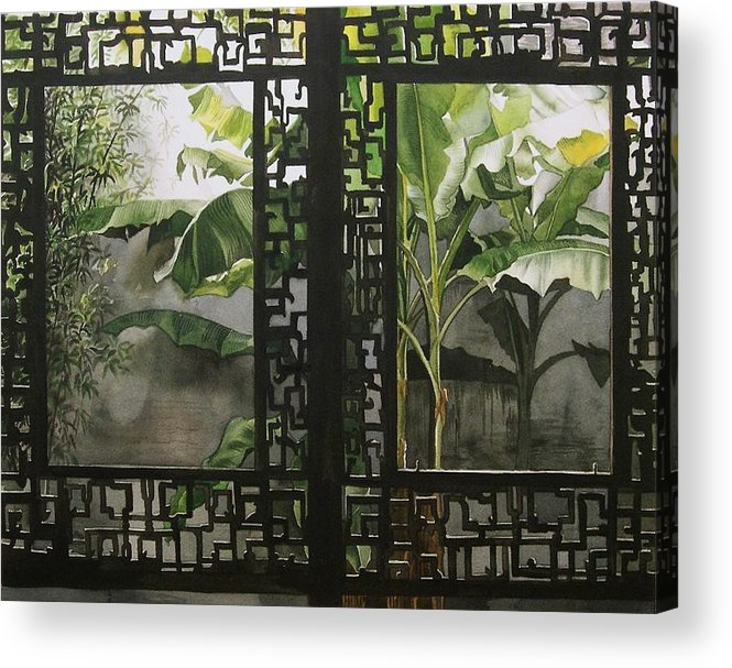 Garden Acrylic Print featuring the painting Window With Bamboo And Banana Plant by Alfred Ng