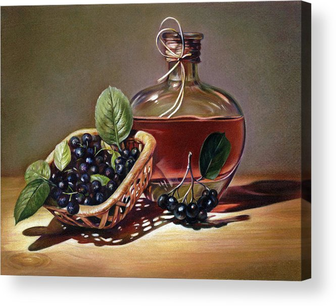 Wine Acrylic Print featuring the drawing Wine And Berries by Natasha Denger
