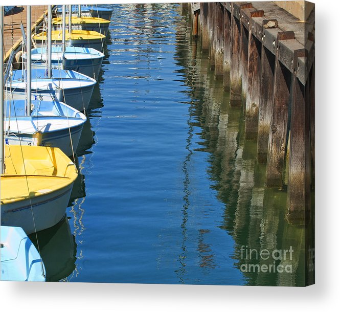 My Ocean Book Acrylic Print featuring the photograph Yellow And Blue Sailboats From The Book My Ocean by Artist and Photographer Laura Wrede