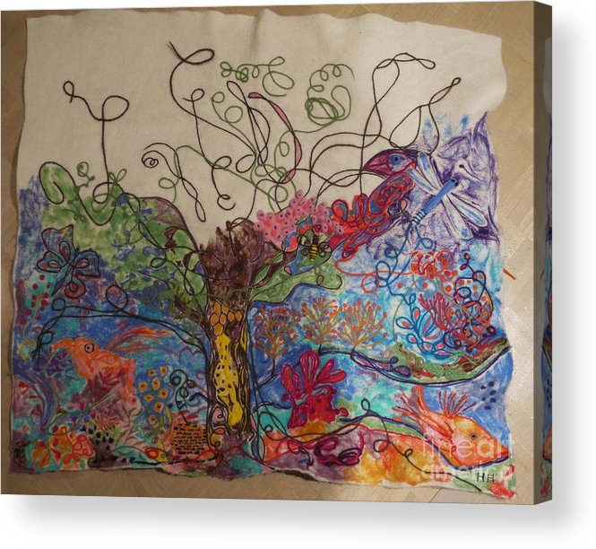 Wool Acrylic Print featuring the painting Untitled Work In Progress by Heather Hennick