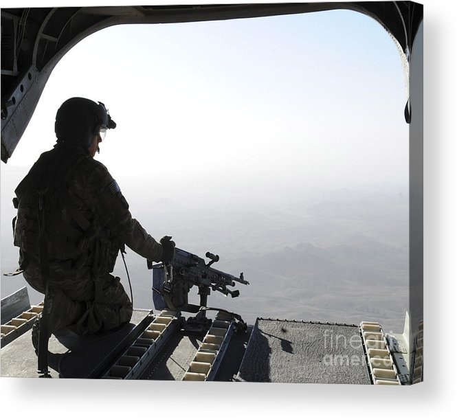 Army Acrylic Print featuring the photograph A U.s. Army Soldier Scans The Area by Stocktrek Images