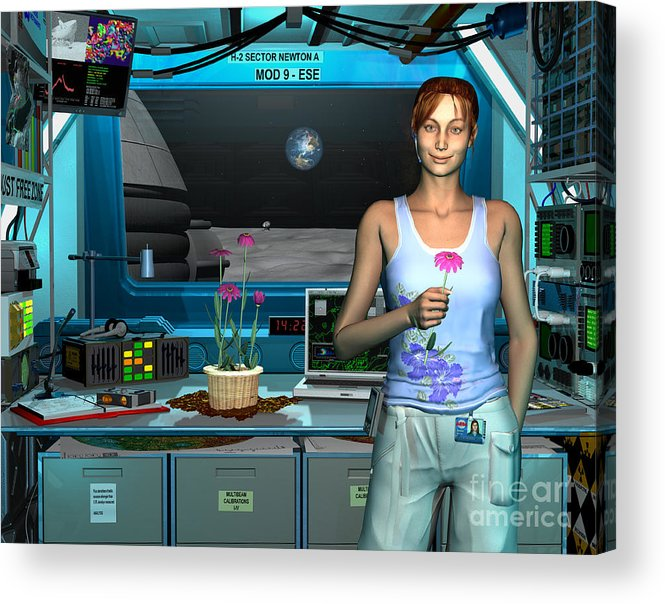 Space Exploration Acrylic Print featuring the digital art A Young Radio Astronomer Stationed by Walter Myers