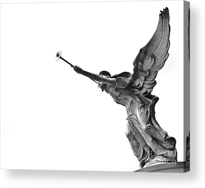 Angel Statue Wooden Wings Black And White Angelic Horn Photograph Photo Acrylic Print featuring the photograph Archangel by Darwin Lopez