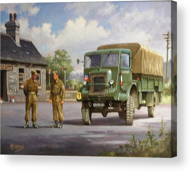 Lorry Acrylic Print featuring the painting Bedford Ql by Mike Jeffries