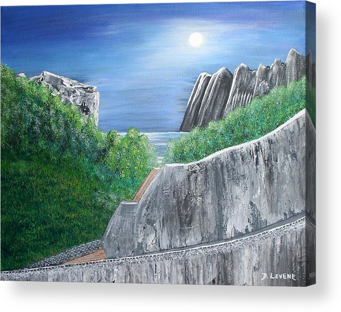 Rocks Acrylic Print featuring the painting Beyond The Rock by Debbie Levene