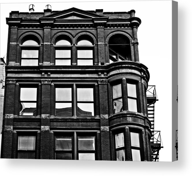 Detroit Acrylic Print featuring the photograph Black And White Brick Apartment Building by Alanna Pfeffer