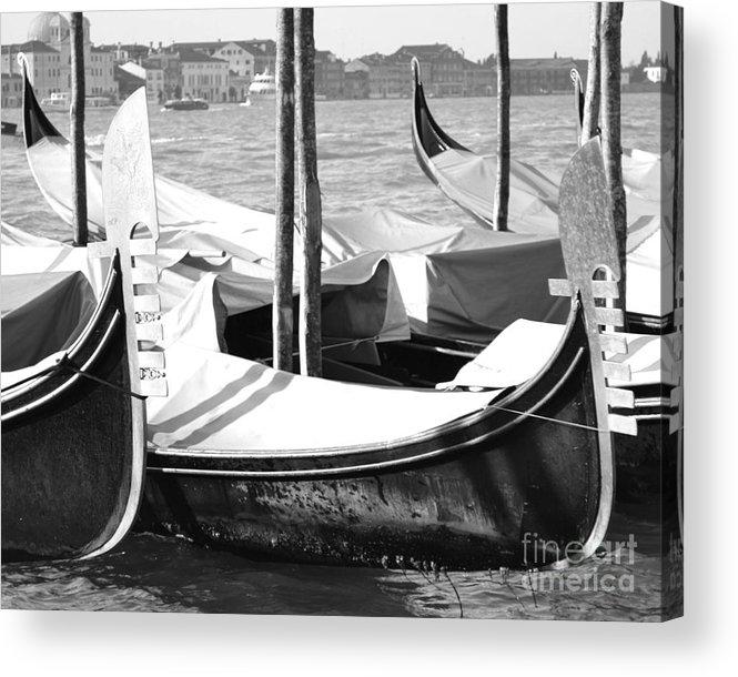Gondola Art Acrylic Print featuring the photograph Black And White Gondolas Venice Italy by Rebecca Margraf