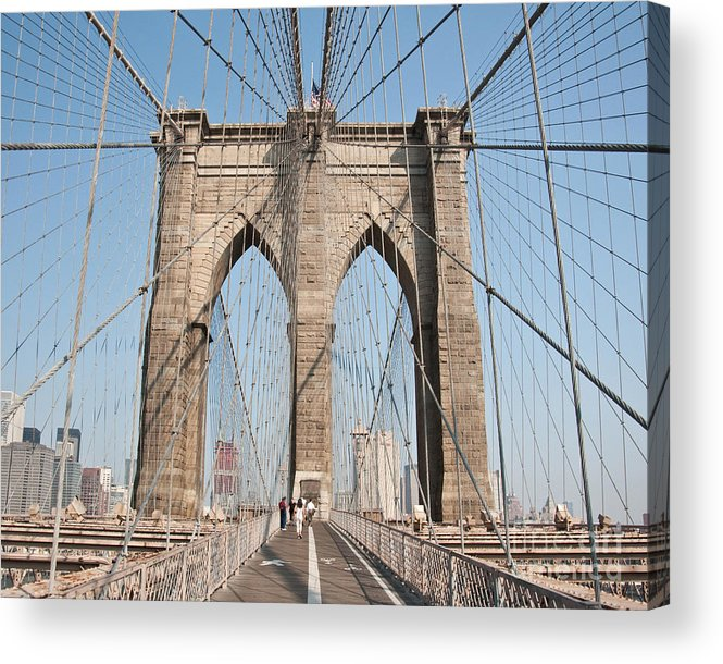 Brooklyn Bridge New York City Cable Tension View Skyline Path Sky Symmetry Bike Lane Acrylic Print featuring the photograph Brooklyn Bridge by Darwin Lopez