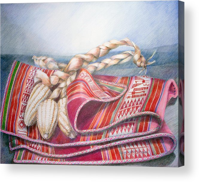 Copper Acrylic Print featuring the drawing Choclos Envueltos En Aguayo by Sonia Tudela