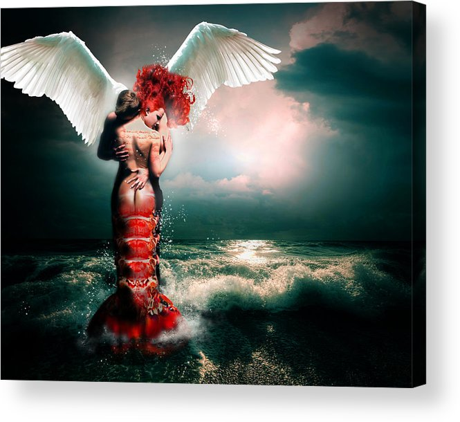 Mermaid Acrylic Print featuring the digital art Collision I by Courtney Chaney