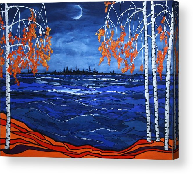 Moon Acrylic Print featuring the painting Crescent Moon by Kathy Peltomaa Lewis