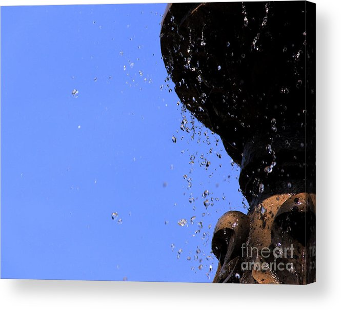 Canon Photoshop Cs5 Water Sky Nature Fountain Colors Motion Acrylic Print featuring the photograph Drops by Melissa Hardiman