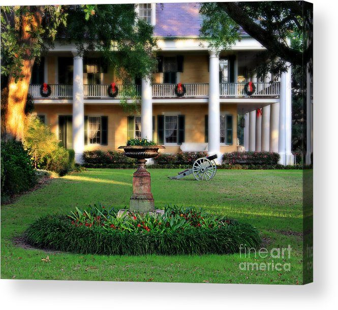 Houmas House Plantation Acrylic Print Featuring The Photograph Houmas House  Plantation Garden By Perry Webster