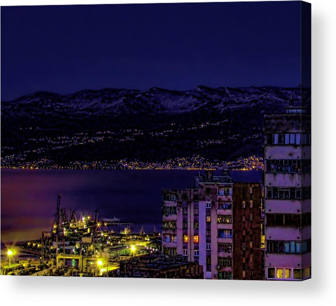 Istria Acrylic Print featuring the photograph Istrian Riviera At Night by Jasna Buncic