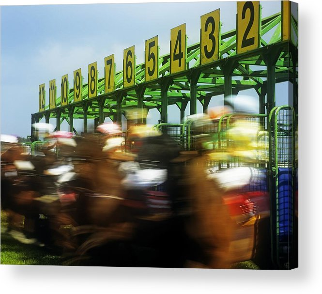Beginnings Acrylic Print featuring the photograph Jockeys Leaving Starting Gates by The Irish Image Collection