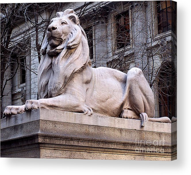 Statue Acrylic Print featuring the photograph Library Lion-new York City by Anne Ferguson