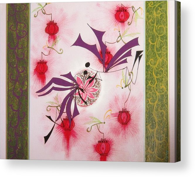 Love Acrylic Print featuring the painting Love Blossom by Jarunee Ward