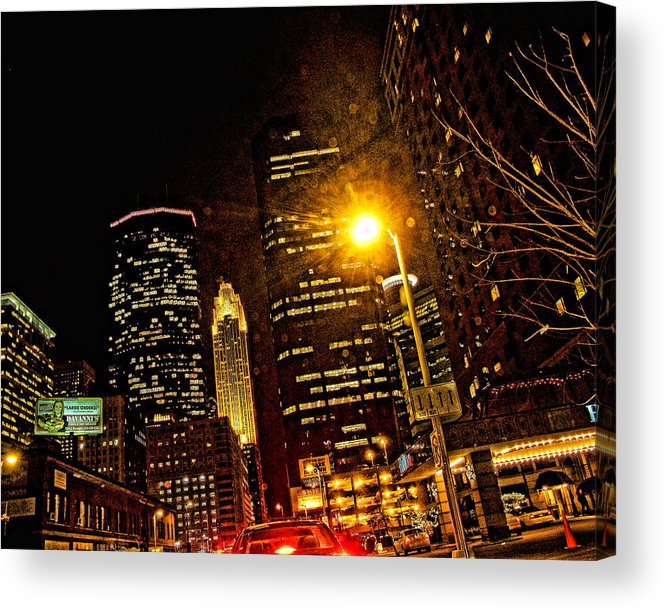 Mpls. At Night Acrylic Print featuring the digital art Minneapolis Night Lights by Susan Stone
