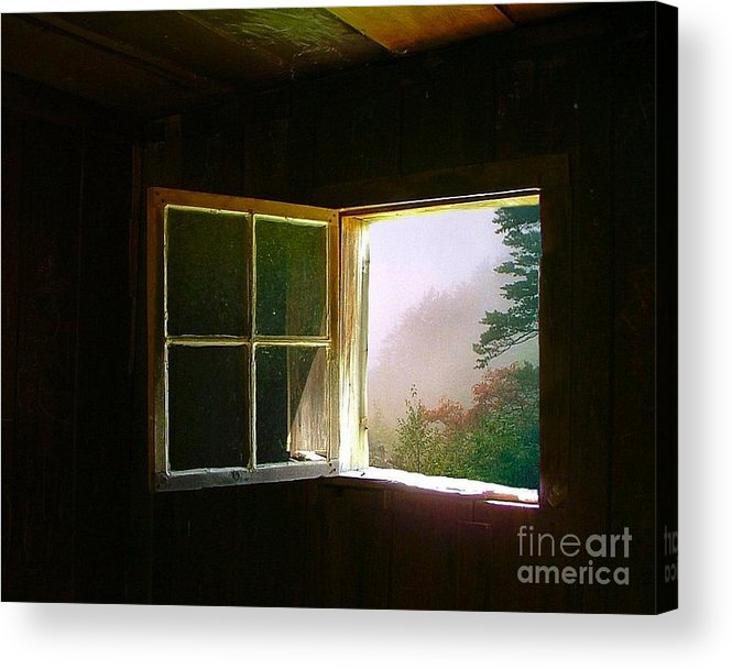 Log Cabin Acrylic Print featuring the photograph Open Cabin Window In Spring by Julie Dant