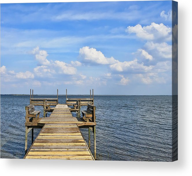 Florida Landscapes Acrylic Print featuring the photograph Pier On Lake Yale by Betty Eich