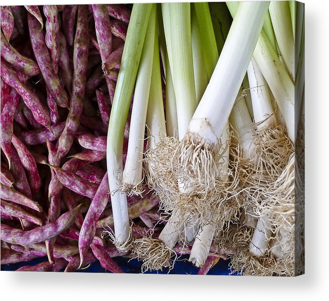 Food Acrylic Print featuring the photograph Purple Beans And Green Onions by Betty Eich
