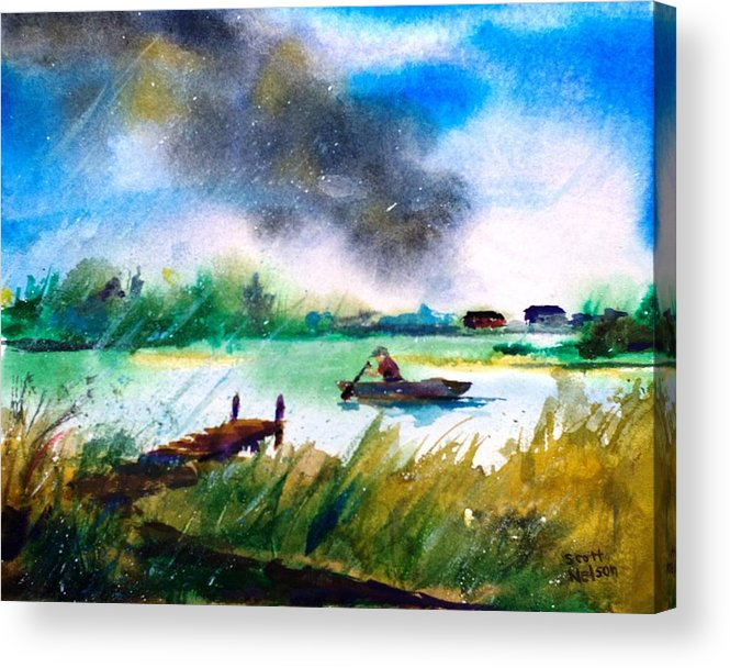Paddle Acrylic Print featuring the painting Racing Back by Scott Nelson