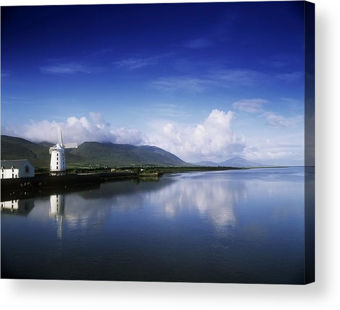 Alternative Energy Acrylic Print featuring the photograph Reflection Of A Traditional Windmill In by The Irish Image Collection