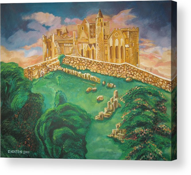 Rock Of Cashel Acrylic Print featuring the painting Rock Of Cashel-ireland by John Keaton