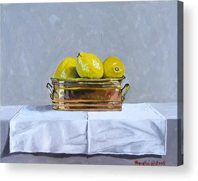 Copy Of Moore Acrylic Print featuring the painting Still Life With Copper And Lemons by Paul De Haan