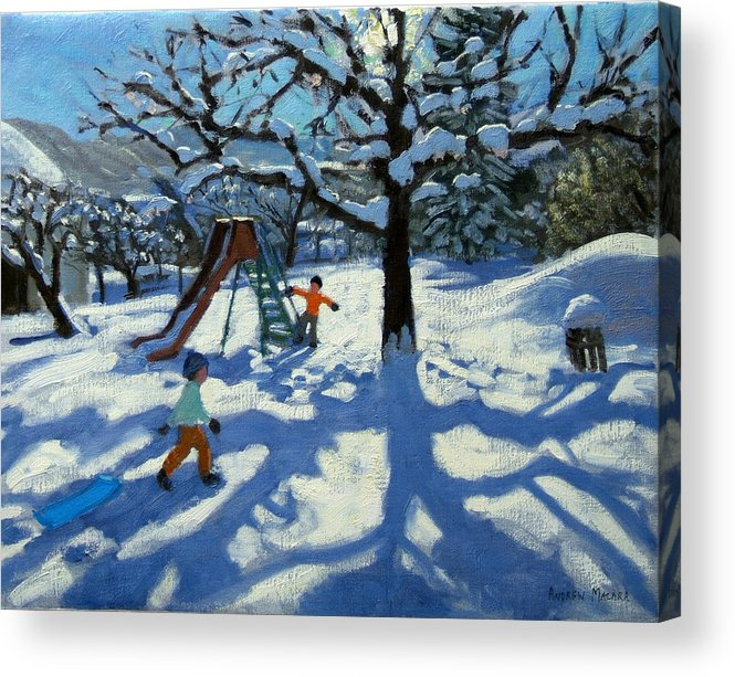 Swiss Landscape Acrylic Print featuring the painting The Slide In Winter by Andrew Macara