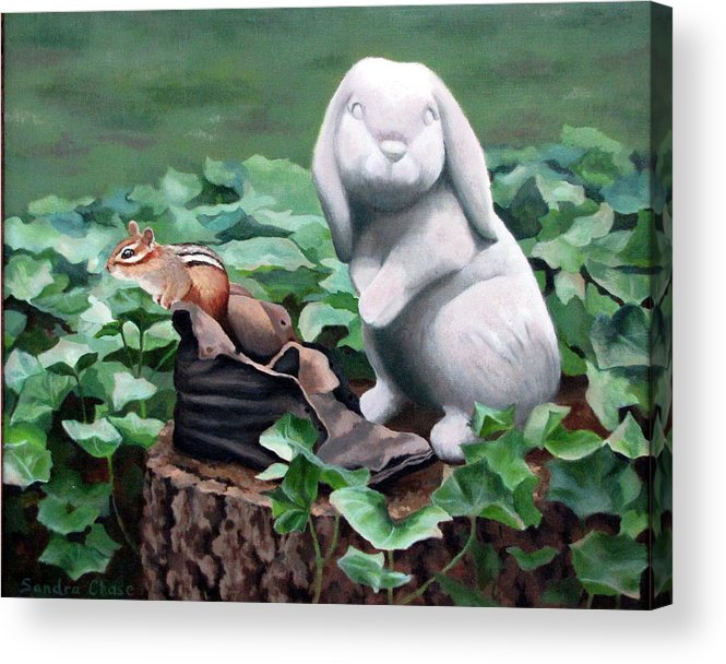 Chipmunk Acrylic Print featuring the painting The Stone Rabbit by Sandra Chase