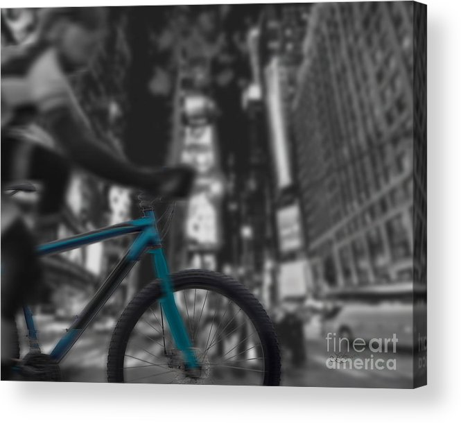 Bike Acrylic Print featuring the digital art Touring The City by Linda Seacord