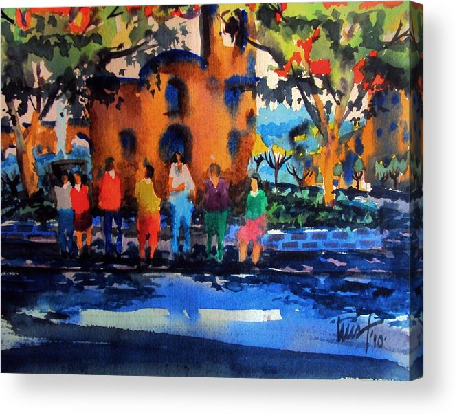 Mexico Acrylic Print featuring the painting Waiting For The Bus by Luis Leon