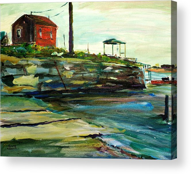 Wells Harbor Acrylic Print featuring the painting Wells Harbor Maine by Scott Nelson