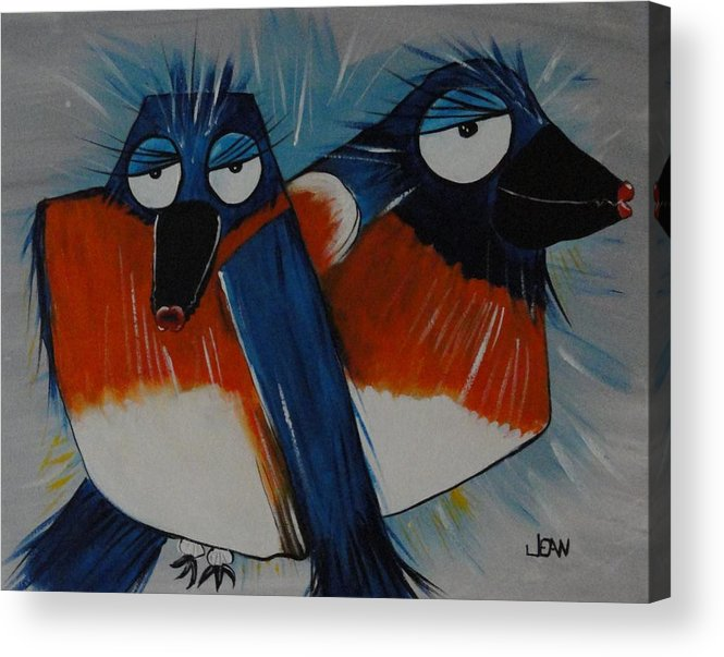 Sing Acrylic Print featuring the painting Whistling Bluebirds by Jean Kieffer