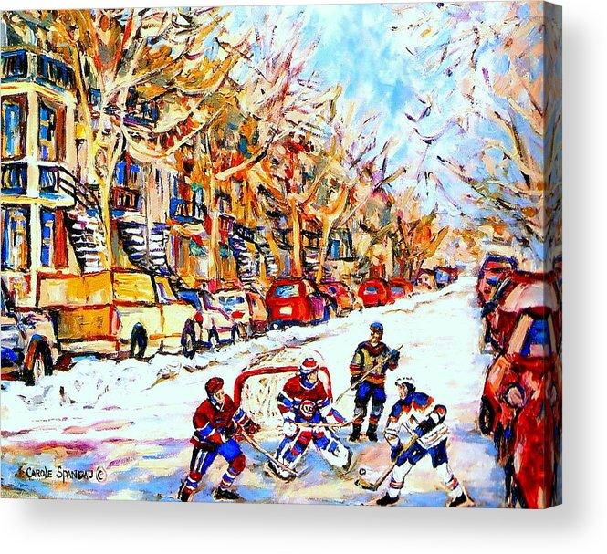 Hockey Acrylic Print featuring the painting Hockey Game On Colonial Street Near Roy Montreal City Scene by Carole Spandau