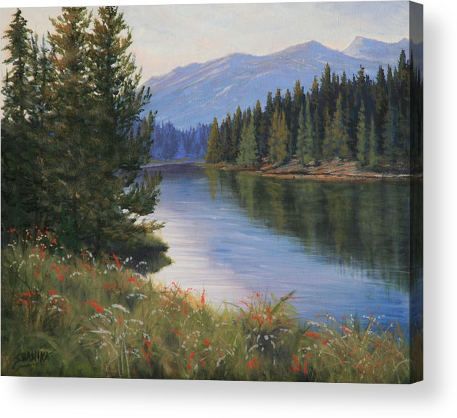 Landscape Acrylic Print featuring the painting 091005-810 Ripples And Reflections by Kenneth Shanika