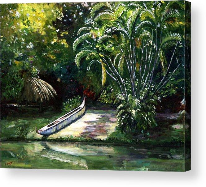 Canoe Acrylic Print featuring the painting Abandoned Canoe by Elizabeth Ferris