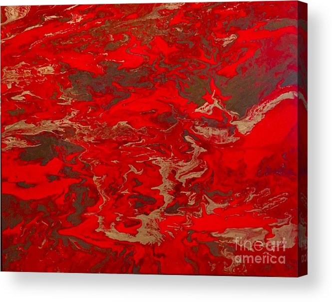 Abstract Acrylic Print featuring the painting Lava Lust Abstract by Kathy Linden