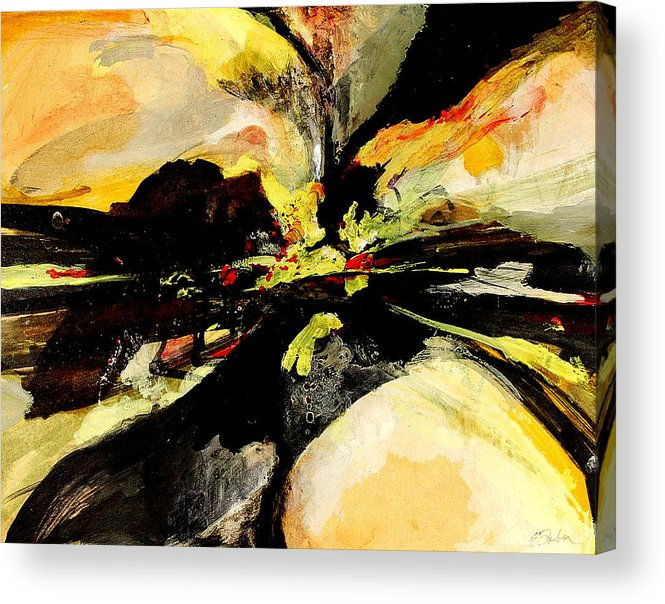 Abstract Abstractart  Red-orange-yellow-black  Acrylic Print featuring the painting Cataclysm by Edward Farber
