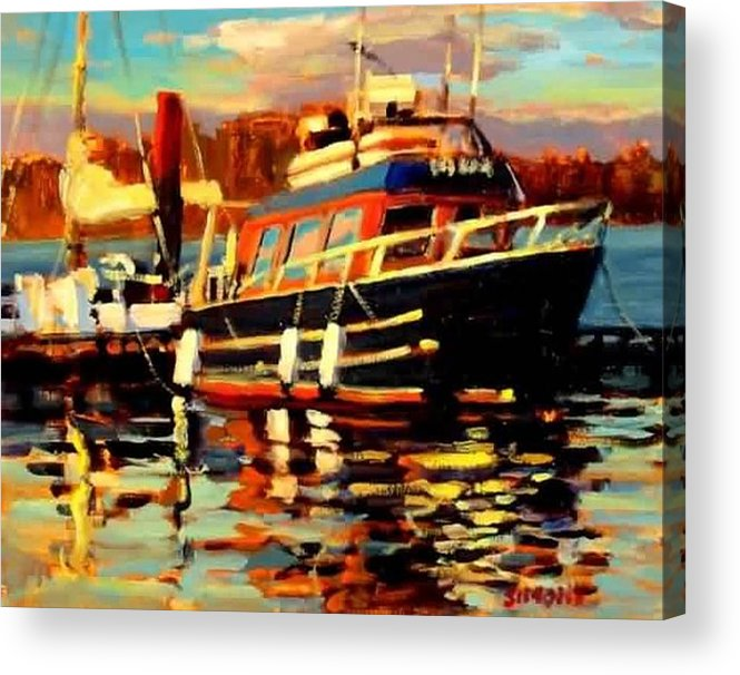 Boat Paintings Acrylic Print featuring the painting Cruiser by Brian Simons