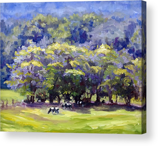 Landscape Acrylic Print featuring the painting Dairy Cows by Kathy Busillo