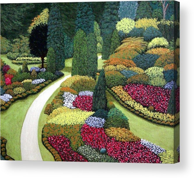 Landscape Acrylic Print featuring the painting Formal Gardens by Frederic Kohli