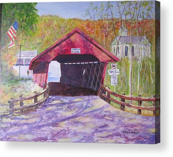 Covered Bridge At Newfield Ny Acrylic Print featuring the painting Newfield Bridge by Joseph Stevenson