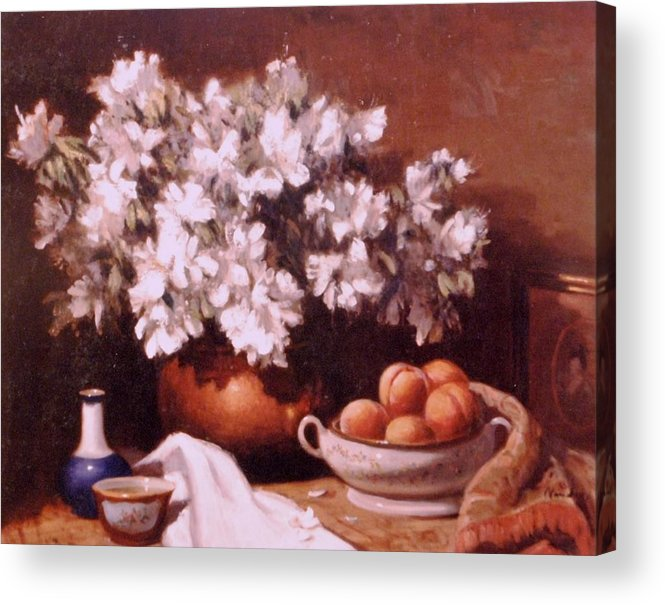 Still Life Peaches And Flowers Acrylic Print featuring the painting Peaches And Flowers by David Olander
