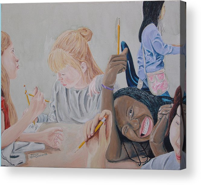 Kevin Callahan Acrylic Print featuring the painting Pencils Up by Kevin Callahan